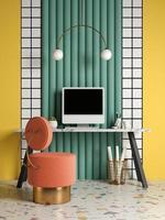 Bureau à domicile intérieur conceptuel de style memphis en illustration 3d