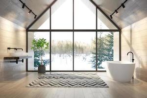 Salle de bain intérieure d'une maison forestière en rendu 3d photo