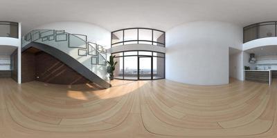 Panorama 360 d'une pièce intérieure moderne vide dans le rendu 3D