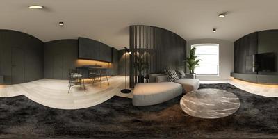 Vue panoramique à 360 ° d'un intérieur minimaliste noir d'une maison moderne en rendu 3d