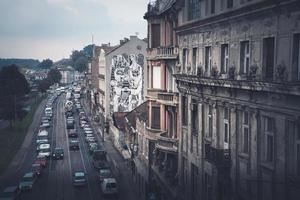 Belgrade, Serbie 2015 - rue Karadjordjeva et paysage urbain de Belgrade, vue depuis le pont de Brankov