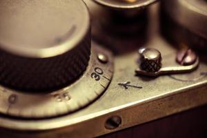 Détail d'un ancien appareil photo argentique