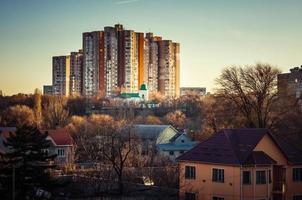 Skyline de soirée résidentielle de Moldavie photo