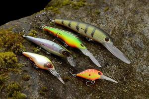 Groupe de leurres de pêche wobblers sur une pierre humide avec de la mousse photo