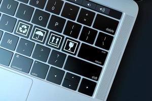 symboles fragiles sur clavier d'ordinateur portable