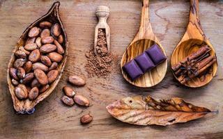 cuillères en bois et bols d'ingrédients de dessert photo