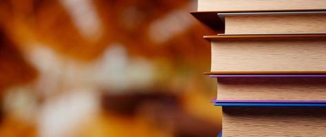 3d, de, livres, sur, arrière-plan flou photo