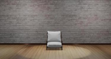 Illustration 3D d'une chaise moderne placée au milieu de la pièce avec une lumière qui brille d'en haut photo