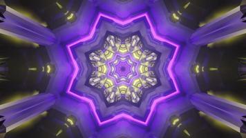 tunnel en forme d'étoile brillante avec illustration 3d de néons photo