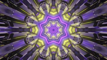 illustration 3d de tunnel kaléidoscopique multicolore brillant photo