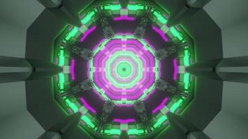 tunnel virtuel avec néons illustration 3d photo