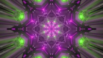 passerelle de science-fiction rougeoyante avec illustration 3d d'ornement géométrique