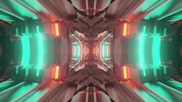 3d illustration du tunnel néon lumineux photo