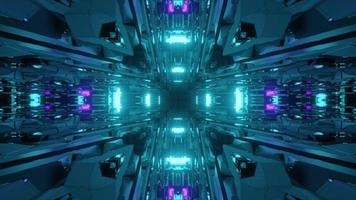 3d illustration du tunnel bleu futuriste photo