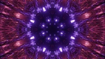 tunnel rond abstrait avec illustration 3d de couleurs néon photo