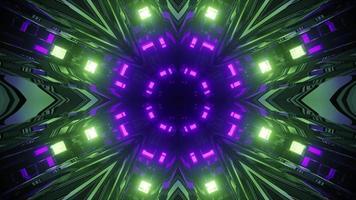 néons brillants reflétés dans l'illustration 3d de tunnel géométrique photo