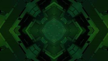 Résumé des formes géométriques vertes en trois dimensions sur fond noir