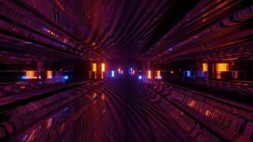 mouvement à travers le tunnel lumineux illustration 3d photo