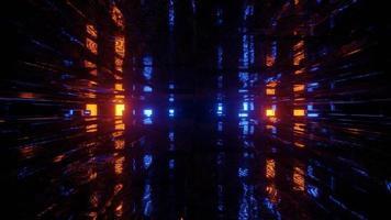 Illustration 3D de lumières incandescentes dans un tunnel sombre sans fin photo