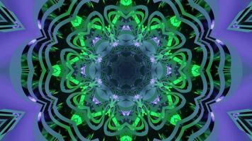 illustration 3d de motif néon ornemental vert et violet photo