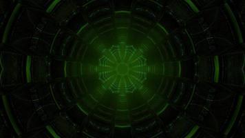 3d illustration du tunnel vert foncé photo