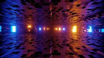 3d illustration du tunnel éclairé avec des murs carrelés photo