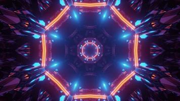 3d illustration du tunnel néon de forme ronde photo