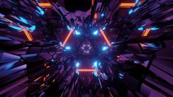 Illustration 3D de lignes lumineuses chaotiques dans un tunnel sombre photo