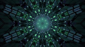 Illustration 3D du tunnel futuriste vert photo