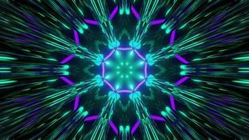illustration 3d géométrique du motif lumineux en forme de fleur photo