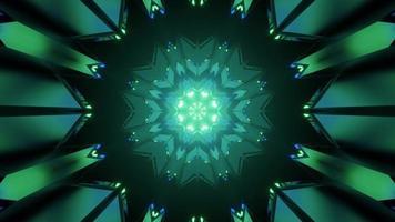3d illustration abstraite du motif en forme de flocon de neige géométrique vert photo