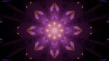 3d illustration du motif géométrique kaléidoscope en boucle dans le tunnel sombre