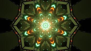 lumières vertes et orange formant un ornement géométrique en illustration 3d