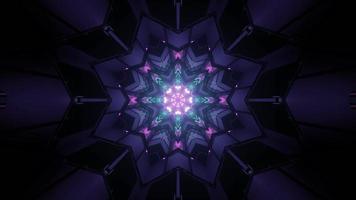 Illustration 3D de motif géométrique symétrique avec des lumières colorées qui brillent dans l'obscurité photo