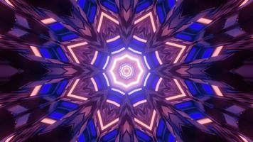 3d illustration du motif géométrique dans les néons en mouvement dans le tunnel