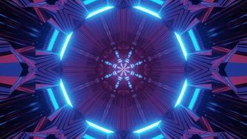 illustration 3d de tunnel néon futuriste géométrique photo