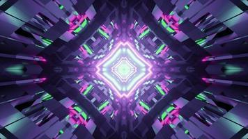 Illustration 3D du motif géométrique fractal avec éclairage lumineux