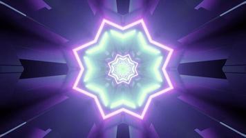Illustration 3d d'ornement en forme d'étoile kaléidoscope lumineux photo
