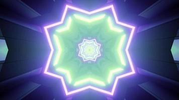 illustration 3d d'ornement géométrique vert et violet vibrant