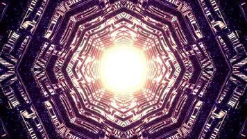 lumière dorée brillante à l'intérieur de l'illustration 3d de tunnel géométrique