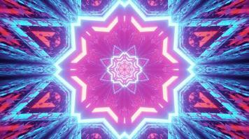 illustration 3d de motif abstrait néon en forme d'étoile