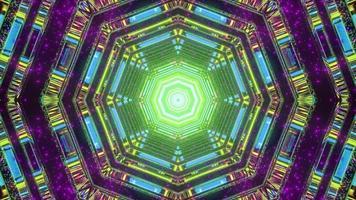 3d illustration du modèle en forme d'hexagone kaléidoscope avec des lumières multicolores photo