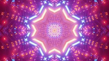 illustration 3d de tunnel en forme d'étoile colorée