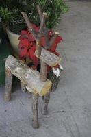 ornement de noël renne bûche photo