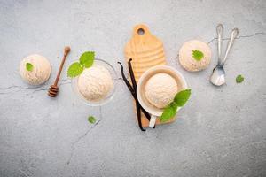 glace à la vanille et à la menthe