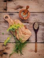 vue de dessus du fenouil frais et des graines de fenouil photo