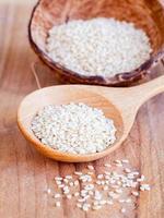 riz blanc dans une cuillère photo