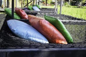 hamacs avec oreillers colorés