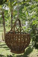 panier tressé suspendu dans le jardin fruitier photo