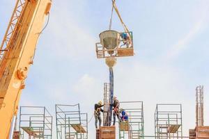 les travailleurs de la construction travaillant sur des échafaudages à un niveau élevé par rapport aux normes établies photo